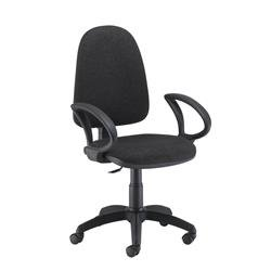 Zoom High Back Operator Chair with Fixed Arms Black Ref CH0707BK+AC1041
