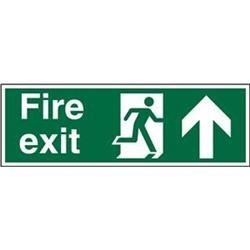Stewart Superior (450mm x 150mm) Self Adhesive Vinyl Safe Procedure Sign (Fire Exit - Man Running Right & Arrow Pointing Up) Ref SP129SAV-450X150