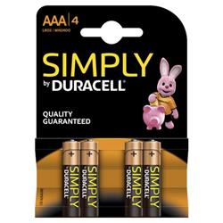 Duracell Simply (AAA) Alkaline Batteries (Pack of 4) - MN2400B4SIMPLY