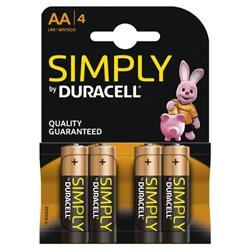 Duracell Simply (AA) Alkaline Batteries (Pack of 4) - MN1500B4SIMPLY