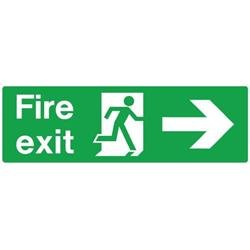 Stewart Superior (450mm x 150mm) Self Adhesive Vinyl Safe Procedure Sign (Fire Exit - Man Running Right & Arrow Pointing Right) Ref SP121SAV-450X150