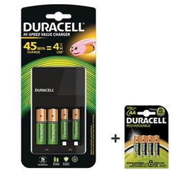 Duracell 45 Minute Battery Charger Hi Speed for NiMH AA/AAA LED Charge Status Indicator Ref 81528873 - FREE Pack of Duracell AA Batteries (Pack of 4)