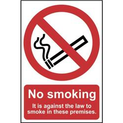 Stewart Superior (A5) Self Adhesive Vinyl No Smoking Sign (No Smoking - It Is Against The Law To Smoke In These Premises) Ref SB003SAV-A5