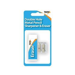Tiger Eraser and Metal Double Hole Sharpener Set (12 Pack) 302023