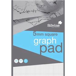 Silvine Student Graph Pad 90gsm 5mm Quadrille 50 Sheets A4 Ref A4GPX-10 [Pack 10]