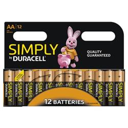 Duracell Simply (AA) Alkaline Batteries (Pack of 12) Ref MN1500B12SIMPLY