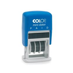 Colop S160/L2 Mini Text Dater Stamp PAID 12 Years Self-Inking Imprint 25x12mm (Red/Blue Ink) Ref 105270