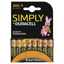 Duracell Simply (AAA) Alkaline Batteries (Pack of 8) Ref MN2400B8SIMPLY