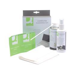 Kit pulizia pc Q-Connect aria compressa, liquido detergente e salviette KF32155A