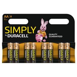 Duracell Simply (AA) Alkaline Batteries (Pack of 8) Ref MN1500B8SIMPLY