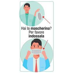 """Adesivo segnaletico per pareti """"Hai la mascherina? Per favore indossala"""" - 15x30 cm"""