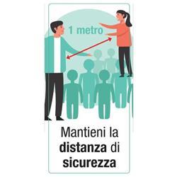 """Adesivo segnaletico per Pareti - """"Mantieni la distanza di sicurezza""""- 15x30 cm"""
