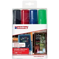 Edding 4090 Chalk Markers Chisel Tip Assorted Pack of 4