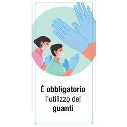 """Adesivo segnaletico per Pareti - """"È obbligatorio l'utilizzo dei guanti""""- 15x30 cm"""