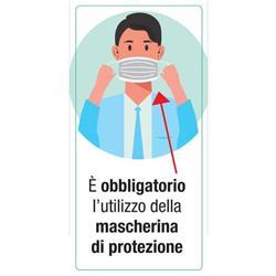 """Adesivo segnaletico per Pareti - """"È obbligatorio l'utilizzo della mascherina di protezione""""- 15x30 cm"""
