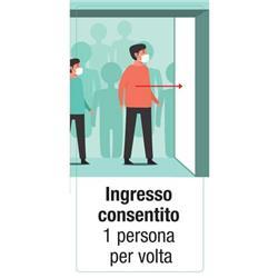 """Adesivo segnaletico per Pareti - """"Ingresso consentito 1 persona per volta""""- 15x30 cm"""