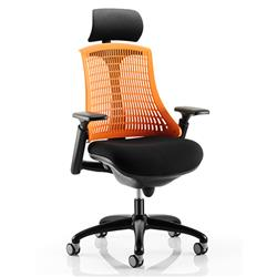 Flex Task Operator Chair Black Frame With Black Fabric Seat Orange Back With Arms With Headrest Ref KC0107