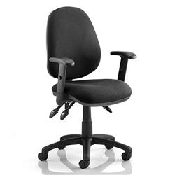Luna III Lever Task Operator Chair Black Fabric With Height Adjustable Arms Ref KC0140