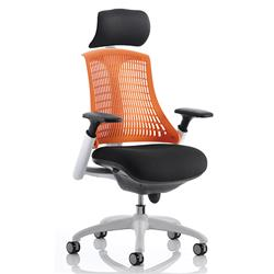 Flex Task Operator Chair White Frame Black Fabric Back With Orange Back With Arms With Headrest Ref KC0091