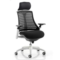 Flex Task Operator Chair White Frame Black Fabric Seat With Black Back With Arms With Headrest Ref KC0087