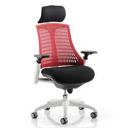Flex Task Operator Chair White Frame Black Fabric Seat With Red Back With Arms With Headrest Ref KC0089