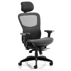 Stealth Ergo Posture Black Mesh Seat And Back Chair With Arms With Headrest Ref KC0159