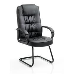 Moore Visitor Cantilever Chair Black Bonded Leather With Arms Ref KC0151