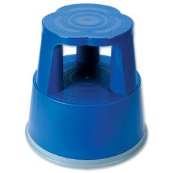 5 Star Facilities Step Stool Mobile Plastic Lightweight Strong Top W290xH430xBaseW400mm Blue