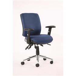 Chiro Task Operators Chair Blue Fabric With Arms Medium Back Ref OP000011