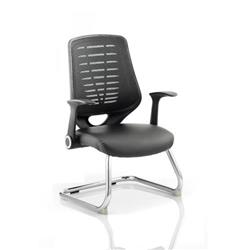 Relay Visitor Cantilever Chair Bonded Leather Seat Black Back With Arms Ref BR000119
