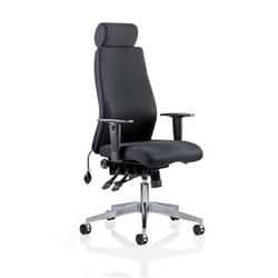 Onyx Ergo Posture Chair Black Fabric With Headrest With Arms Ref OP000094