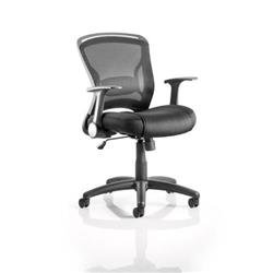 Zeus Task Operator Chair Black Fabric Black Mesh Back With Arms Ref OP000140