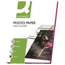 Q-Connect A4 White High Gloss Photo Paper 260gsm (Pack of 50) Ref KF02772
