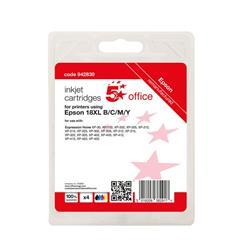5 Star Office Reman Inkjet Cart Page Life Blk 470pp C/M/Y 450pp [Epson C13T18164012 Alternative] [Pack 4] Ref 942830