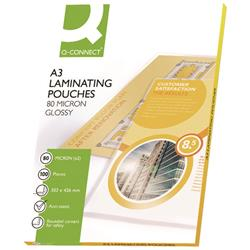 Q-Connect A3 Laminating Pouches 160 Micron Gloss (Pack of 100) Ref KF04122