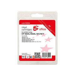 5 Star Office Reman Inkjet Cart Page Life Bk/C/M/Y 1000pp [HP No.932XL/933XL C2P42AE Alternative][Pk 4] Ref 943054