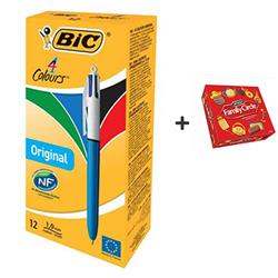 Bic 4-Colour Ball Pen Medium 1.0mm Tip 0.32mm Line Blue Black Red Green Ref 801867 [Pack 12] - FREE Family Circle Biscuits (670g)