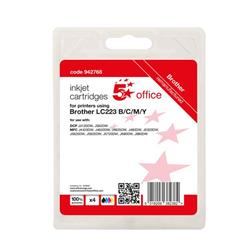 5 Star Office Reman Inkjet Cart Page Life Blk 550pp C/M/Y 550pp [Brother LC223VALBP Alternative] [Pack 4] Ref 942768