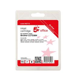 5 Star Office Remanufactured Inkjet Cartridge Page Life Black 600pp [Brother LC123BK Alternative] Ref 942712
