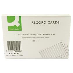 Q-Connect Record Card 152x102mm Ruled Feint White (Pack of 100) Ref KF35205