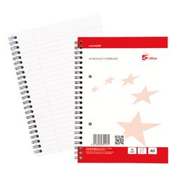 5 Star Office Wirebound Notebook Sidebound Ruled with Margin Perforated 100 Sheets A5 White [Pack 10]