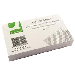 Q-Connect Record Card 127x76mm Ruled Feint White (Pack of 100) Ref KF35204