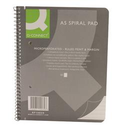 Q-Connect Ruled Margin Spiral Soft Cover Notebook 160 Pages A5 (Pack of 5) Ref KF10039