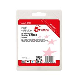 5 Star Office Remanufactured Inkjet Cartridge Page Life Cyan 600pp [Brother LC123C Alternative] Ref 942720