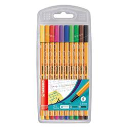 Stabilo Point 88 Fineliner Pen 0.4mm Line Asstd Ref 8810 [Pack 10] Ref 8810