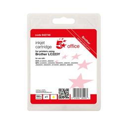 5 Star Office Remanufactured Inkjet Cartridge Page Life Yellow 550pp [Brother LC223Y Alternative] Ref 942746