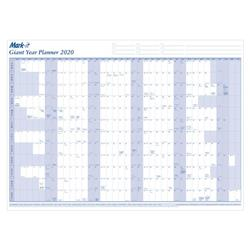 Mark-it 2020 Giant Year Planner Unmounted Landscape with Accessory Kit 1165x820mm Blue/White Ref 20YP Ref 20YP