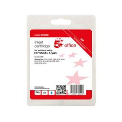 5 Star Office Remanufactured Inkjet Cartridge Page Life Cyan 1600pp [HP No.953XL F6U16AE Alternative] Ref 943068