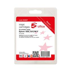 5 Star Office Reman Inkjet Cart Page Life Blk 500pp C/M/Y 500pp [Epson C13T16364012 Alternative] [Pack 4] Ref 942827