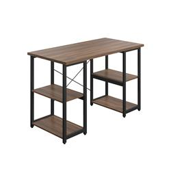 SOHO Home Working Desk with Square Shelves - Dark Walnut / Black